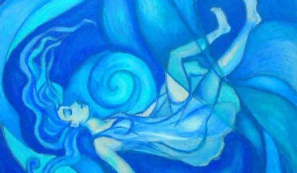 Water Maiden, composed from color pencil, marker, and ink, by Abigail Tembreull